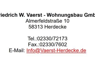 Wir danken: Vaerst Wohnungsbau GmbH